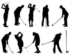Set of black silhouettes of golf, vector