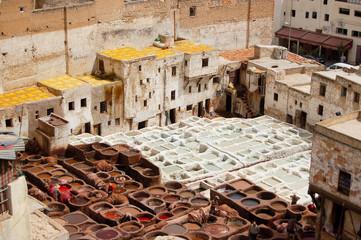 Tanneurs à Fez, Maroc