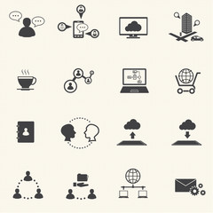Business and social network icons set. Vector