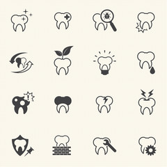 Dental and medical icons. Vector