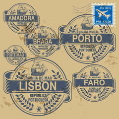 Grunge rubber stamp set with names of Portugal cities