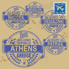Grunge rubber stamp set with names of Greece cities