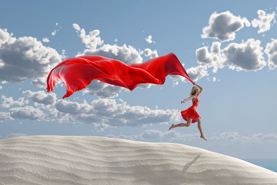 woman running with a red tissue