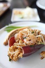 Thai food padthai fried noodle with shrimp