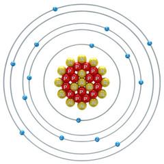 Phosphorus atom on a white background