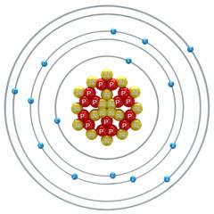 Phosphorus(isotope) atom on a white background