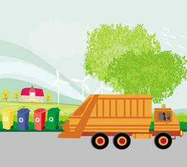 Colorful recycle bins ecology concept with landscape and garbage