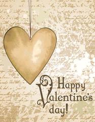 Happy Valentine's day grunge background with paper heart
