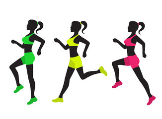 three silhouettes of running women