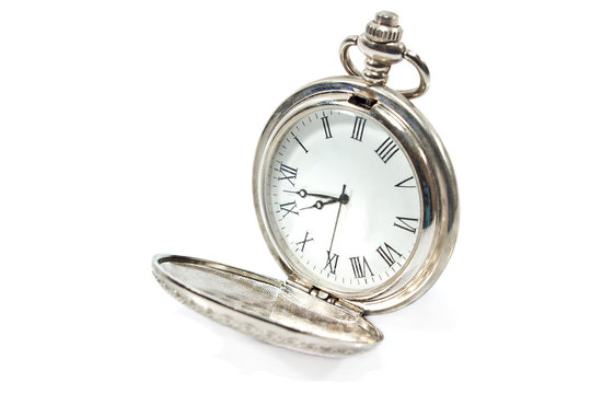 Old pocket watch  isolated on white