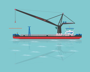 Black floating crane