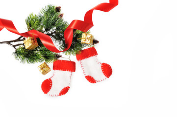 Boots Santa Claus, Christmas decoration handMade on white backgr