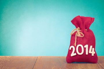 New Year greeting card with gift Santa bag