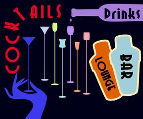 Cocktail menu card design, free copy space