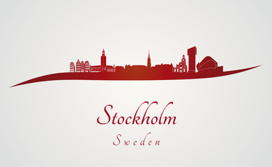 Stockholm skyline in red