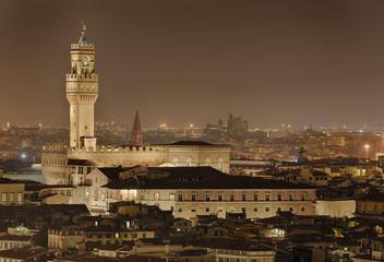 Fototapete - Palazzio Vecchio Florenz Italien beleuchtet
