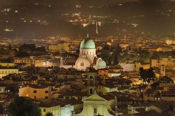 Fototapete - Panorama Florenz Italien Synagoge beleuchtet