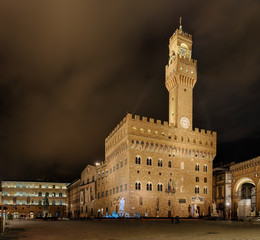 Wall Mural - Neptunbrunnen Palazzio Vecchio Panorama Florenz Italien