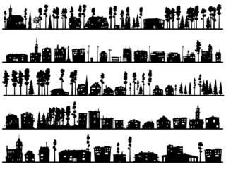 Horizontal childish silhouettes of built, home and trees