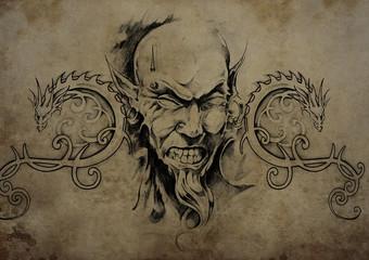 Tattoo skull over vintage paper, black tribal tattoos