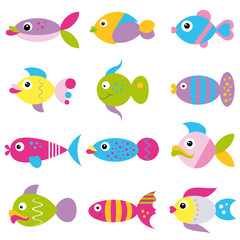 colorful cartoon funky fish collection pattern