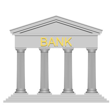 Bank building on white background