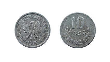 Polish money - 10 groszy (cents) on white background