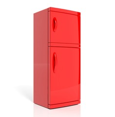 3D render of large red refrigerator isolated one white