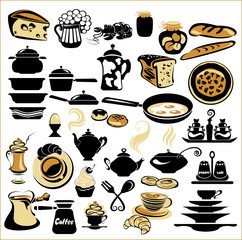 Set of different food and tableware