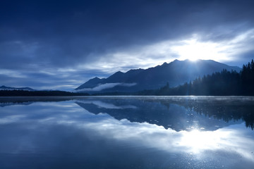 Printed roller blinds Reflection sunshine over mountains and alpine lake