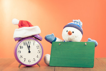 New Year greeting card with retro clock, snowman and signboard