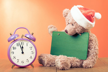 Teddy Bear and retro clock for greeting card