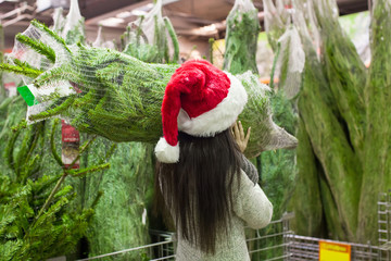 Young woman in santa hat choosing Christmas tree in the market