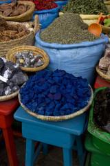 Indigo blue stones in a market