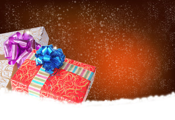 Surprise in New Year Holiday.Christmas.Gift boxes on a snow