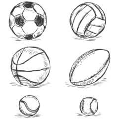 vector sketch illustration - sport balls