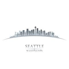 Seattle Washington city skyline silhouette white background