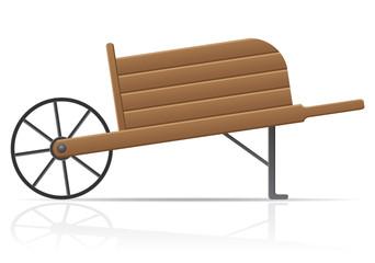 wooden old retro garden wheelbarrow vector illustration