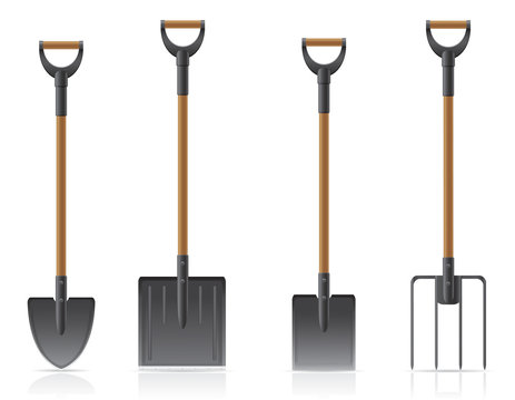 garden tool shovel and pitchfork vector illustration