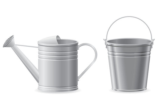 metal watering can and bucket vector illustration