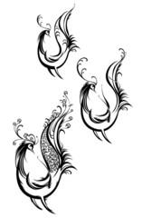 Symbols of birds silhouettes.
