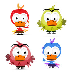 Funny Birds Isolated on White Background