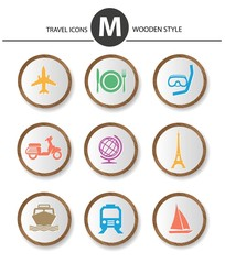 Travel icons,wood style,vector