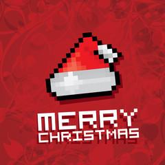 Pixel santa claus red hat