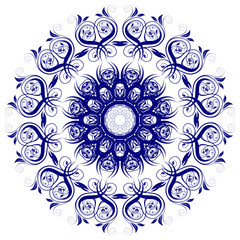 Decorative  frame with vintage round patterns on white.....