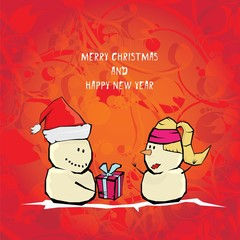 Vector comic cartoon merry christmas illustration with snowman