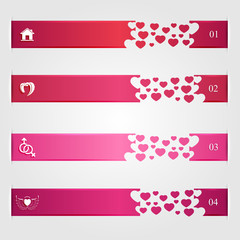 Set of infographics with hearts