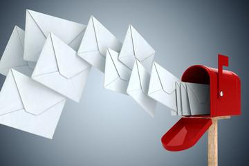 Obraz 3d envelope and mail box - fototapety do salonu