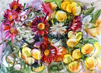 Still life a bouquet of flowers. Hand-drawn in watercolor