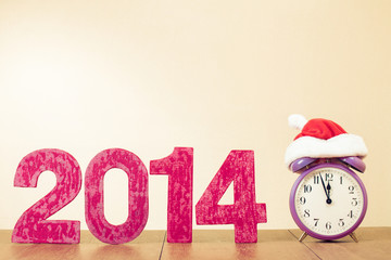 New Year greeting card with retro clock